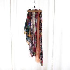 Vtg Scarf Lot of 6 Silk Floral Pattern